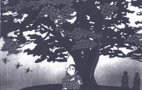 真島若桜「青楓」57x81cm